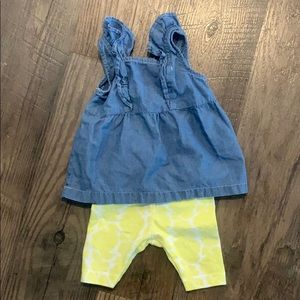 Carter's Denim Tank Top with Yellow Floral Shorts